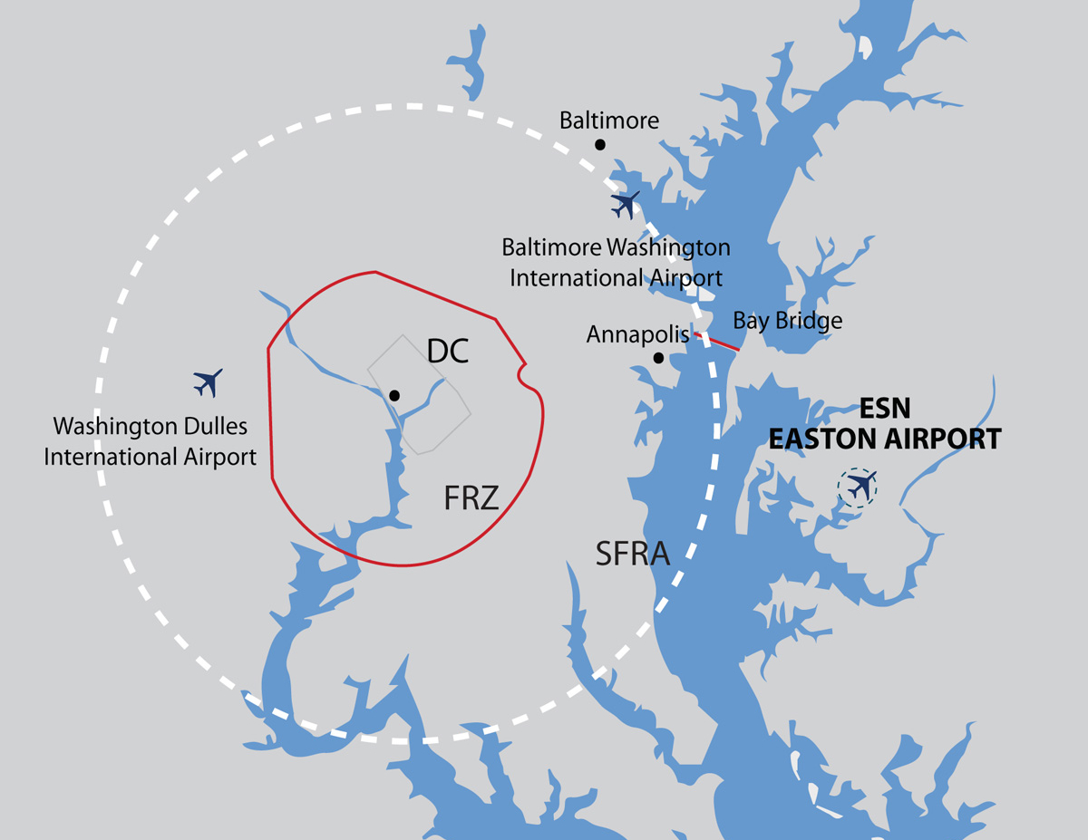 graphic map showing Easton Airport proximity to Dc